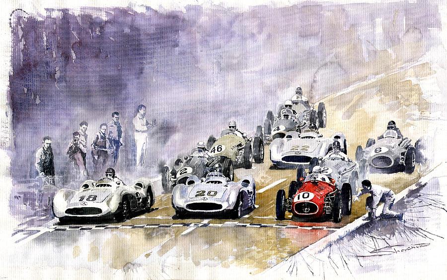 Watercolour Painting - 1954 Red Car Maserati 250 France Gp by Yuriy Shevchuk