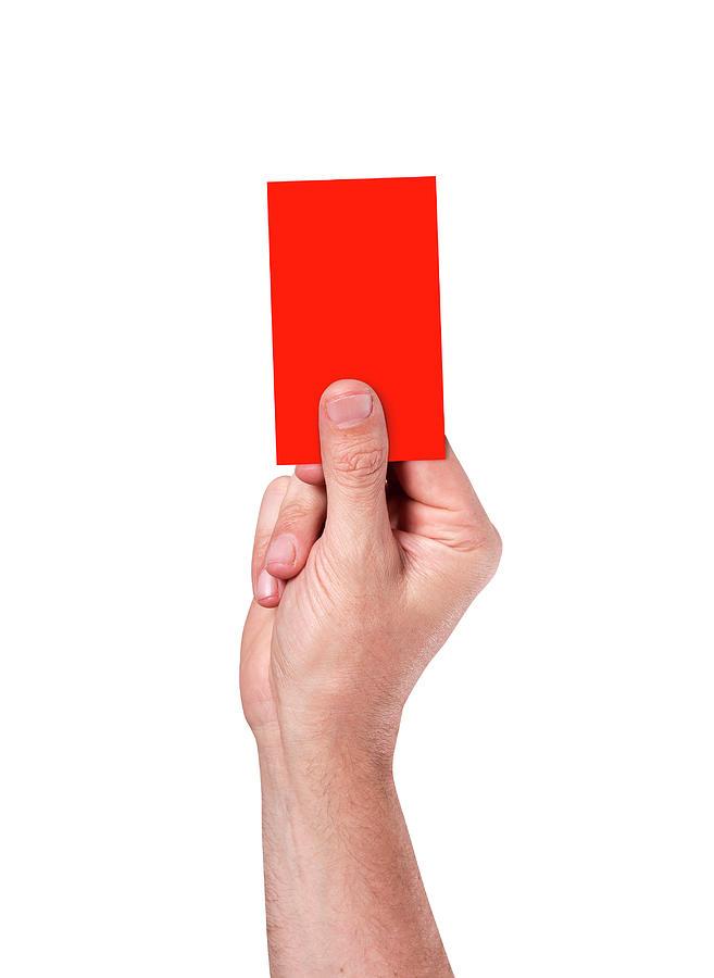 Red Digital Art - Red Card On Stadium Background by Allan Swart