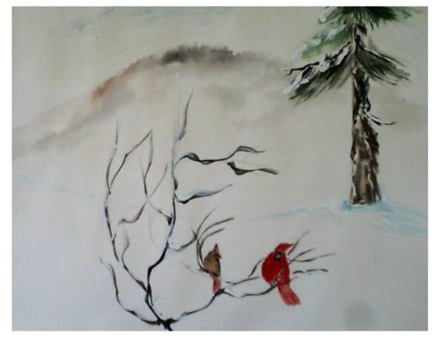 Birds Painting - Red Cardenals by B L Qualls