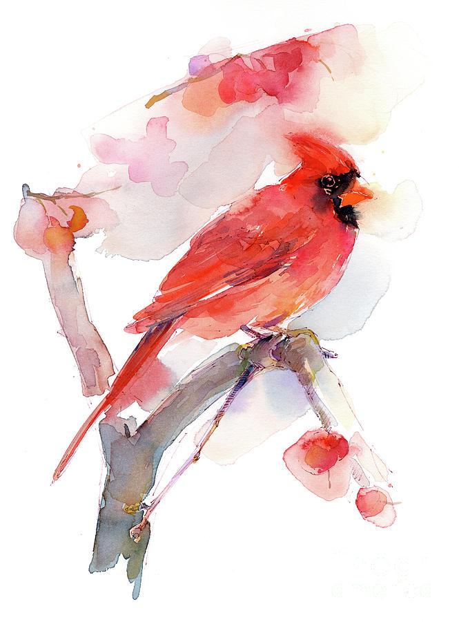 Bird Painting - Red Cardinal by John Keeling