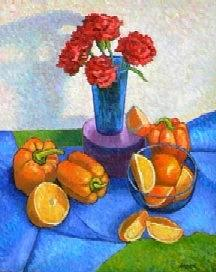 Flowers Painting - Red Carnations by Gainor Roberts
