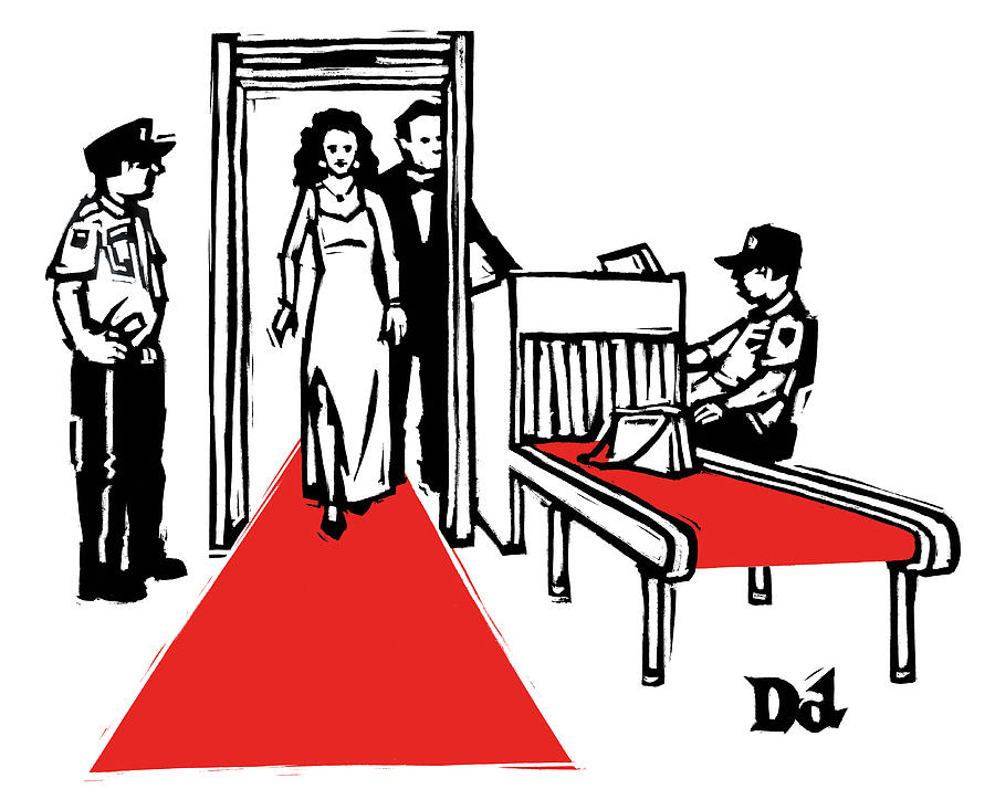 Security Drawing - Red Carpet Security by Drew Dernavich