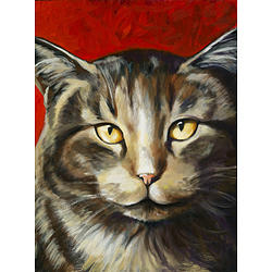 Cat Painting - Red Cat by Lisa Bohart