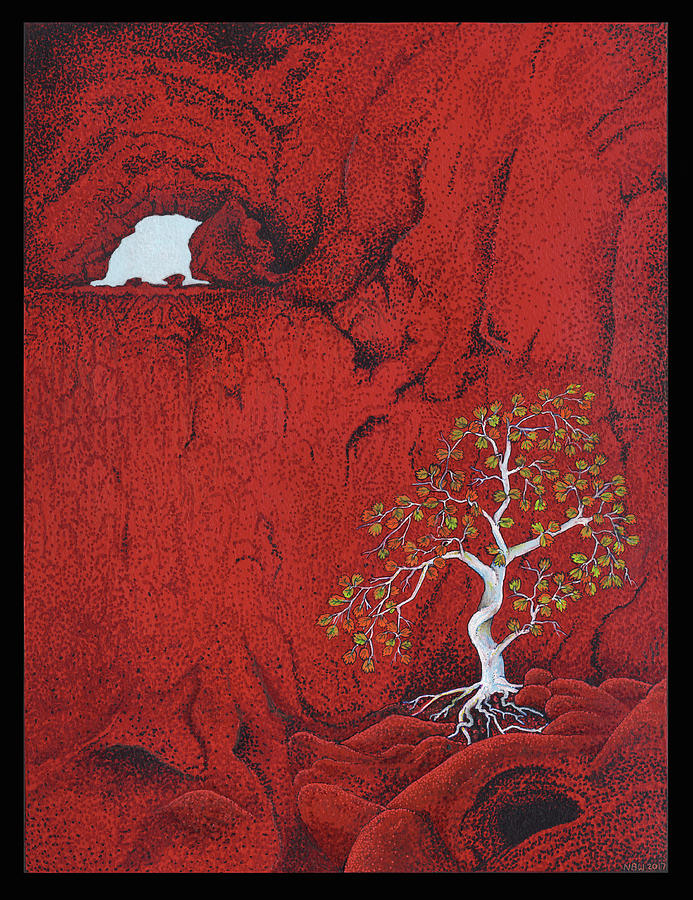 Shaman Painting - Red Cave tree by Nicholas Breeze Wood