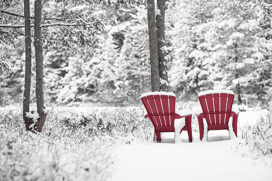 Red Chairs in Winter Anderson Pond by Edward Fielding
