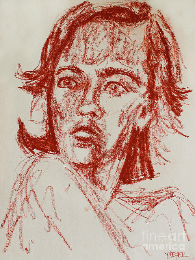 Portrait Drawing - Red Charcoal Sketch 6481 by Robert Yaeger