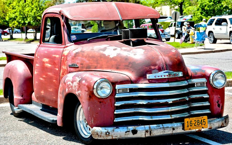 Red Chevy Hot Rod Truck Photograph