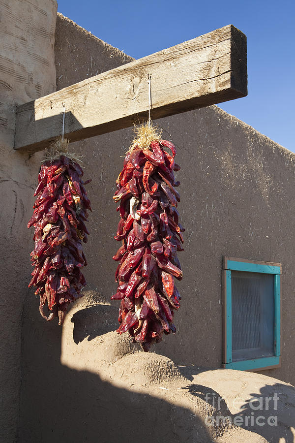 Adobe Photograph - Red Chili Peppers Hanging Outdoors by Bryan Mullennix