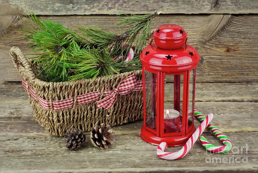 Red Christmas Lantern And Candy Cane Photograph