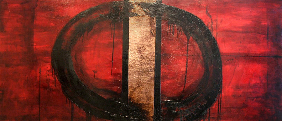 Abstract Painting - Red Circle Of Life by Ellen Beauregard