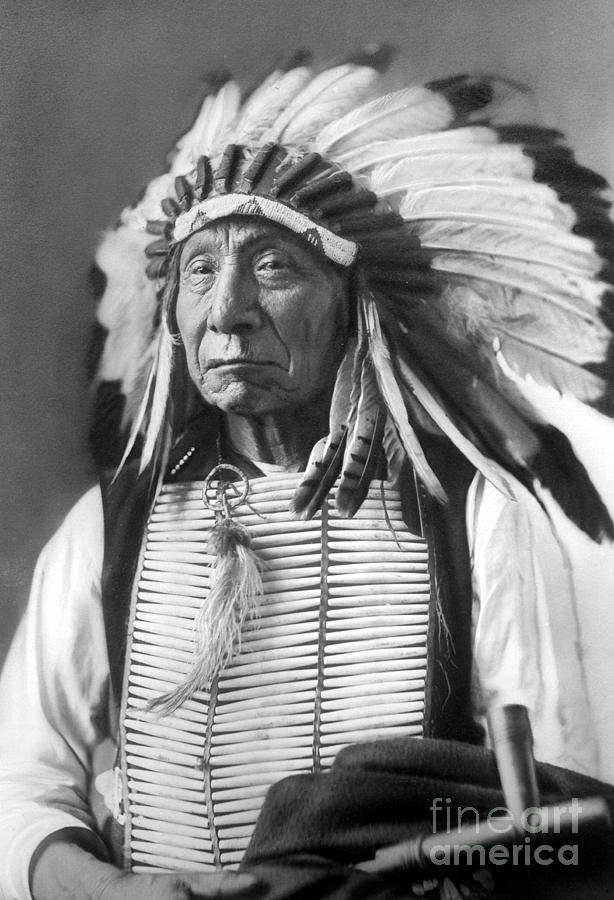 Red Photograph - Red Cloud, Dakota Chief, wearing a headdress, 1880s by David Frances Barry