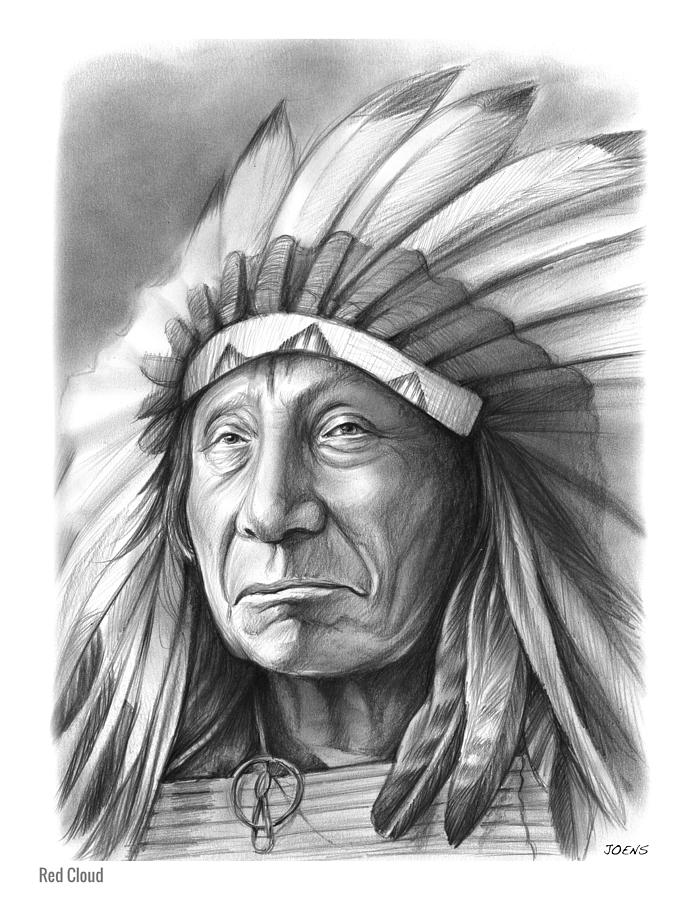 Native american drawing red cloud by greg joens