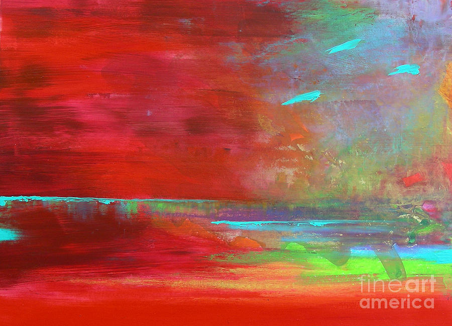 Abstract Landscape Painting - Red Contemplation by Lenore Walker