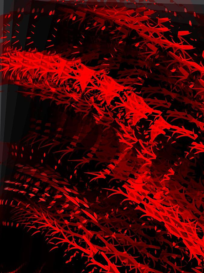 Red And Black Abstract Digital Art - Red by Cooky Goldblatt