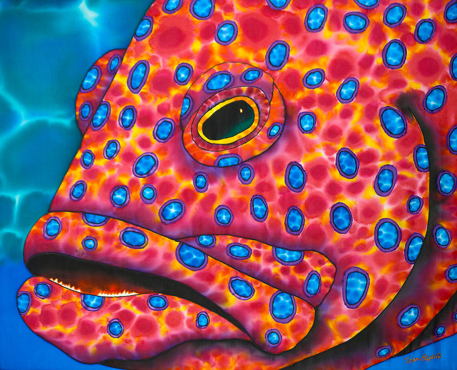 Ocean Animals Painting - Red Coral Grouper by Daniel Jean-Baptiste