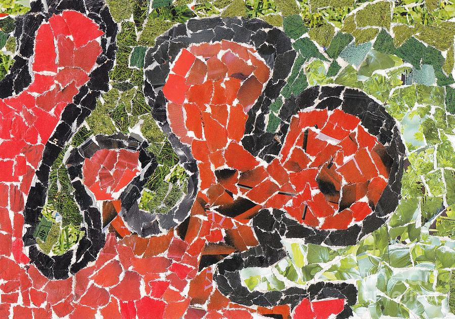 Green Painting - Red Coral by Nyna Niny