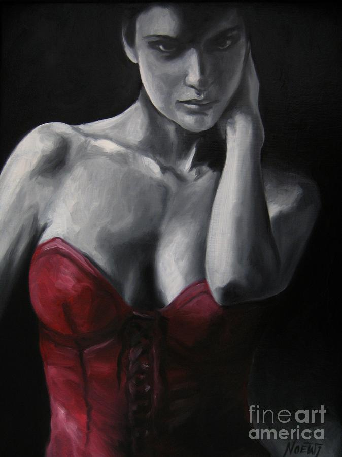 Female Painting - Red Corset Nr.4 by Jindra Noewi