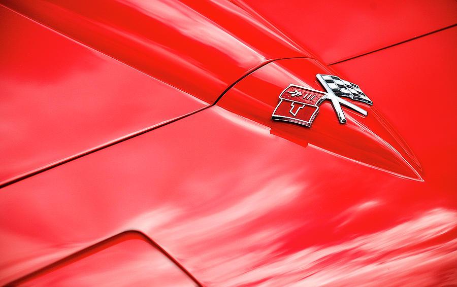 Hood Photograph - Red Corvette Hood by Brian Kinney