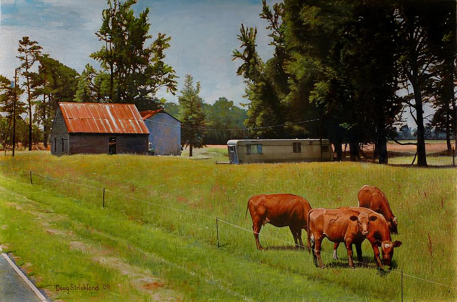 Roadside Painting - Red Cows On Grapevine Road by Doug Strickland