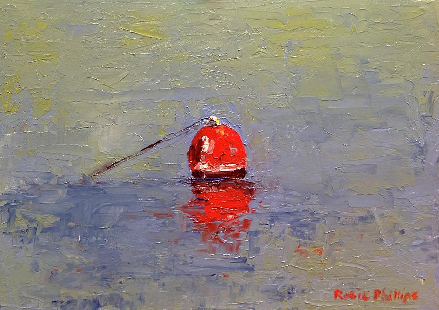 Crab Painting - Red Crab Pot Float by Rosie Phillips