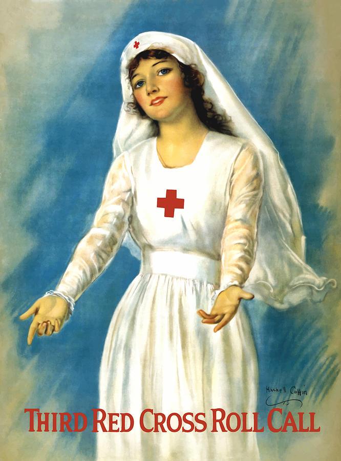 Ww1 Painting - Red Cross Nurse - WW1 by War Is Hell Store