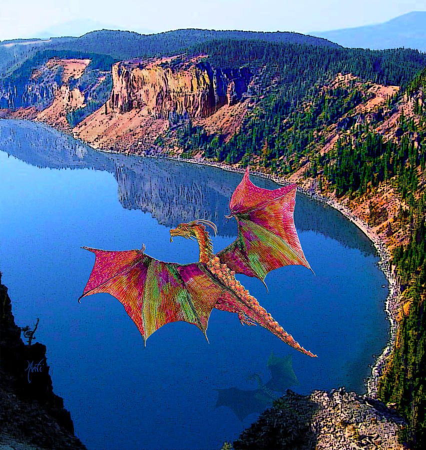 Red Crystal Crater Lake Dragon Mixed Media