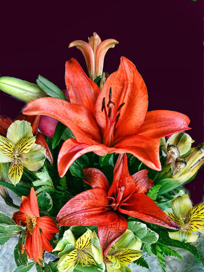 Bouquet Photograph - Red Day Lily Bouquet by Linda Phelps