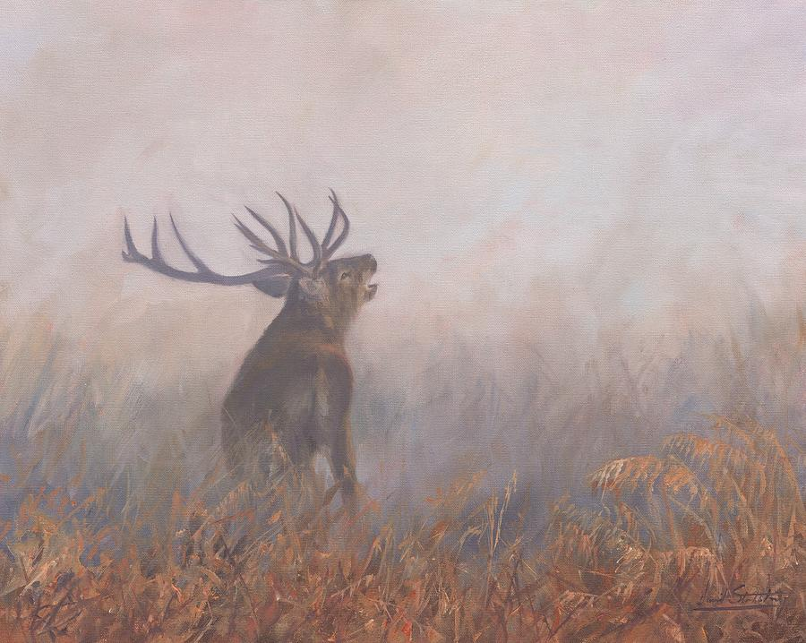 Deer Painting - Red Deer Stag Early Morning by David Stribbling