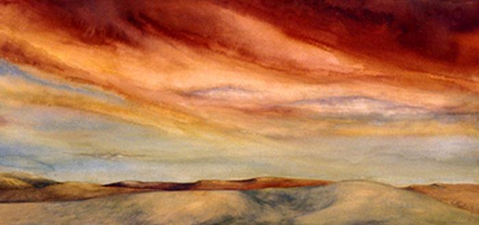 Watercolor Painting - Red Desert by Nancy  Ethiel