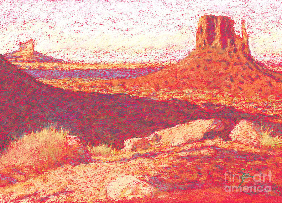 Buttes And Mesas Drawing - Red Desert by Suzie Majikol Maier