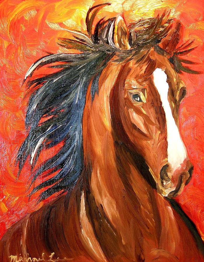 Horse Painting - Red Devil by Michael Lee