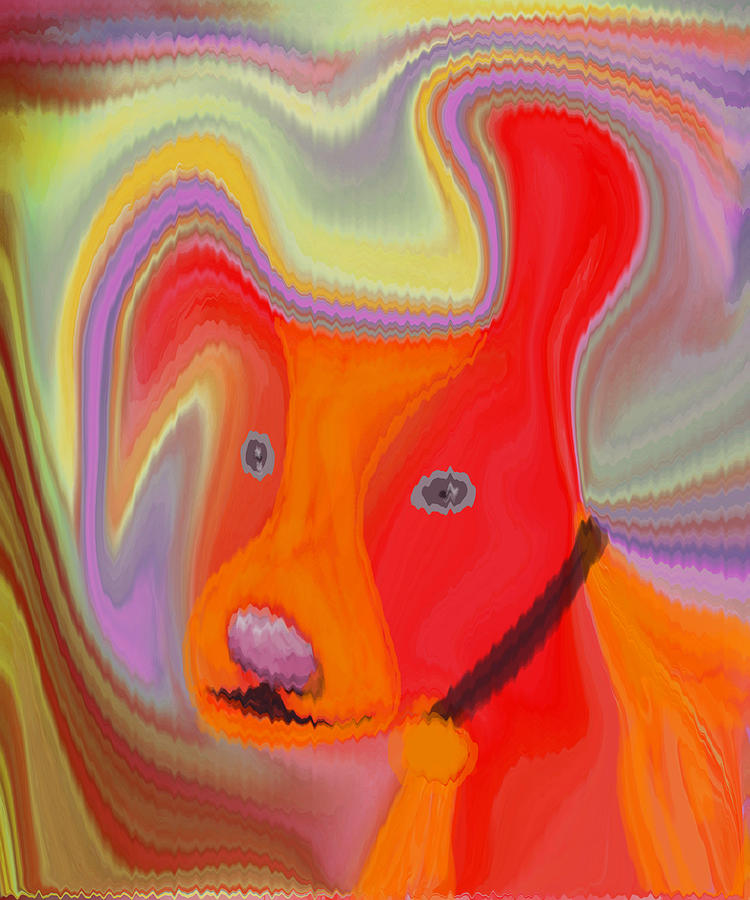 Abstract Digital Art - Red Dog by Ruth Palmer