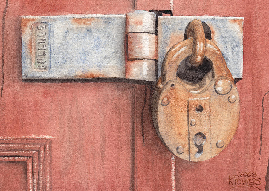 Lock Painting - Red Door And Old Lock by Ken Powers