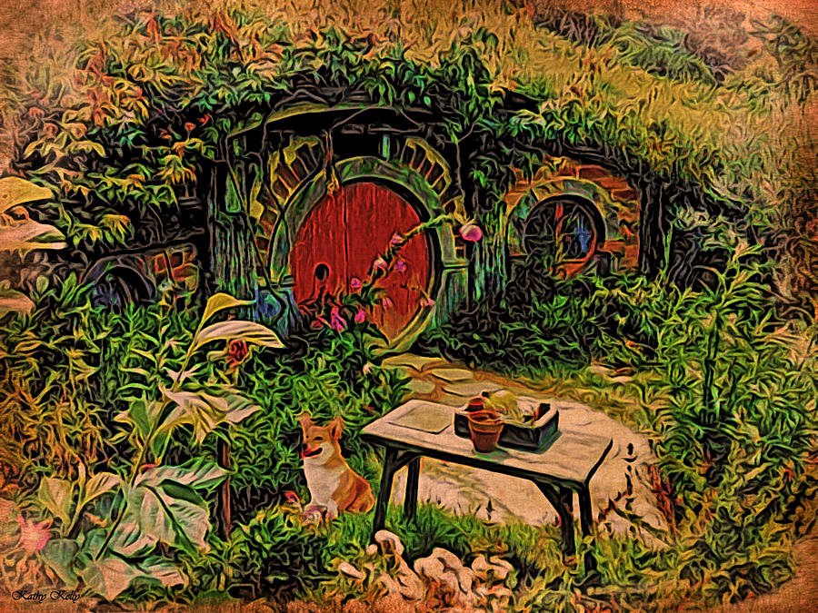 Pembroke Welsh Corgi Digital Art - Red Door Hobbit House With Corgi by Kathy Kelly & Red Door Hobbit House With Corgi Digital Art by Kathy Kelly