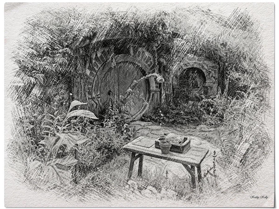 door pencil drawing vintage door hobbiton drawing red door hobbit illustration by kathy kelly