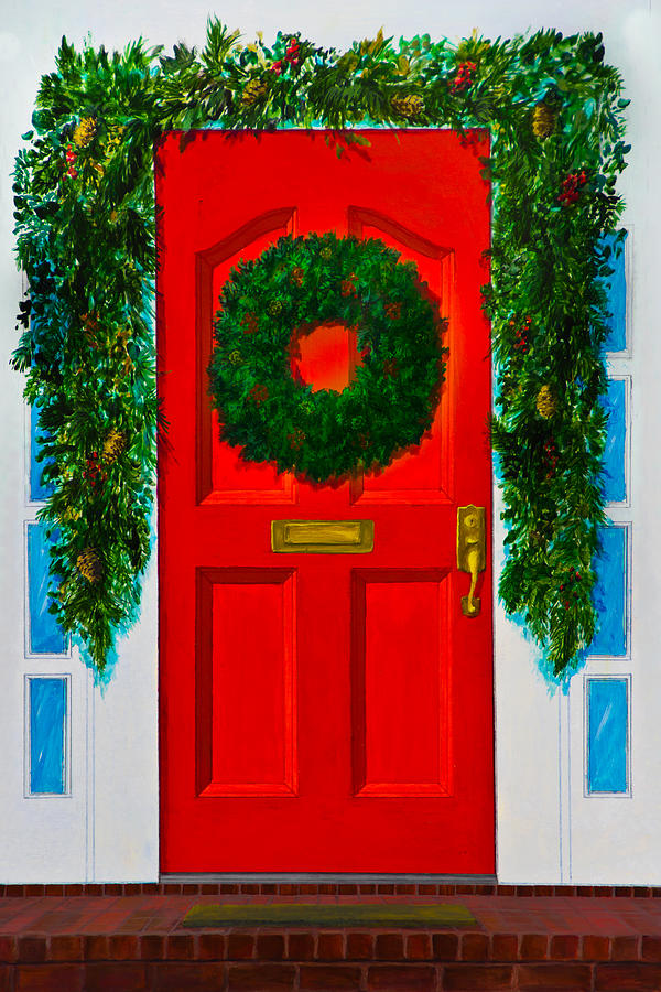 Red Door With A Green Wreath And Green Garland Painting By Lynne