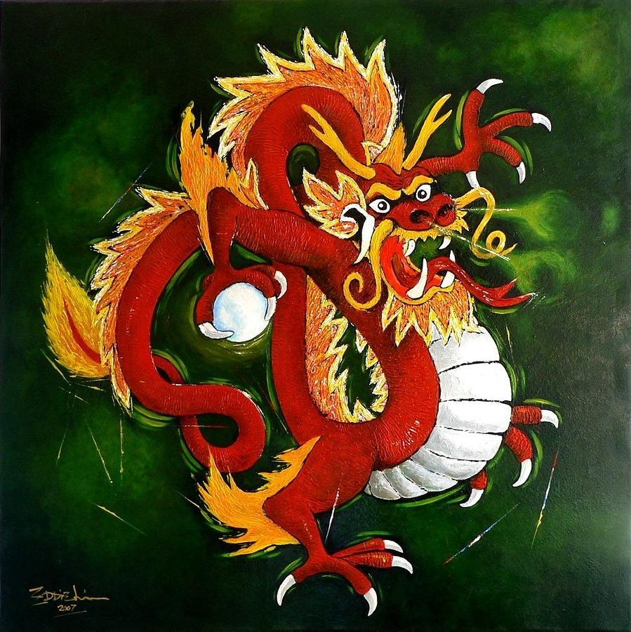 red dragon painting by eddie lim