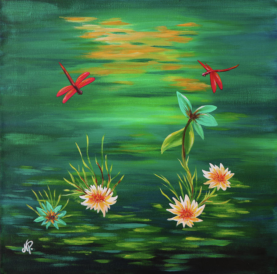 Green Painting - Red Dragonflies by Nicole Paquette