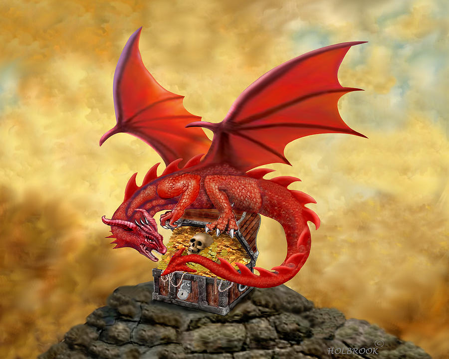 Red Dragons Treasure Chest Digital Art By Glenn Holbrook