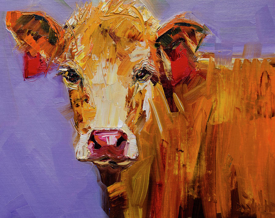 Earring Painting - Red Earring Cow by Diane Whitehead