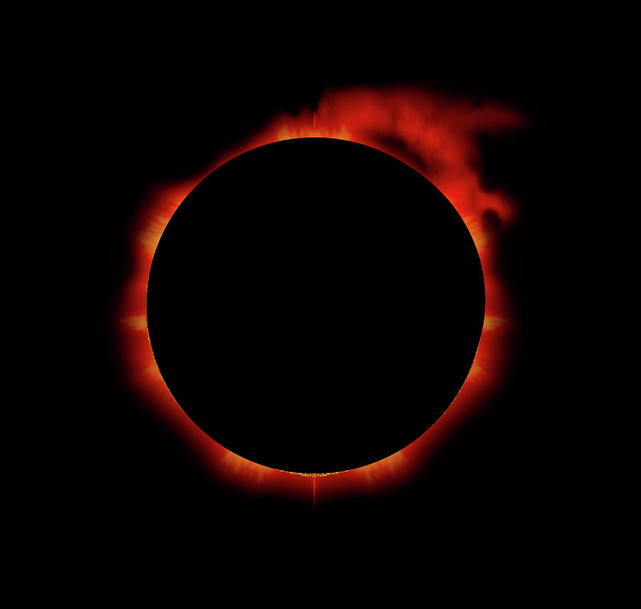 Solar Eclipse Digital Art - Red Eclipse by Julie Rodriguez Jones
