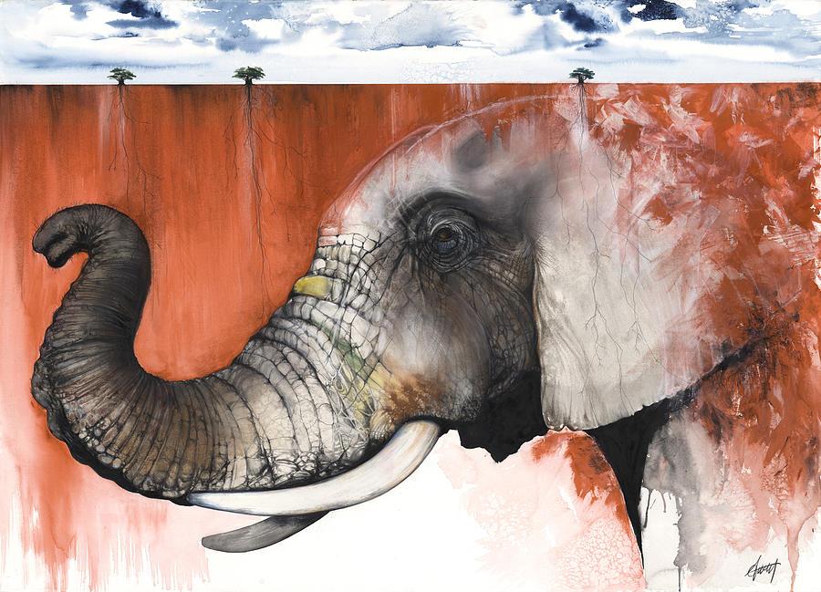 Elephant Mixed Media - Red Elephant by Anthony Burks Sr