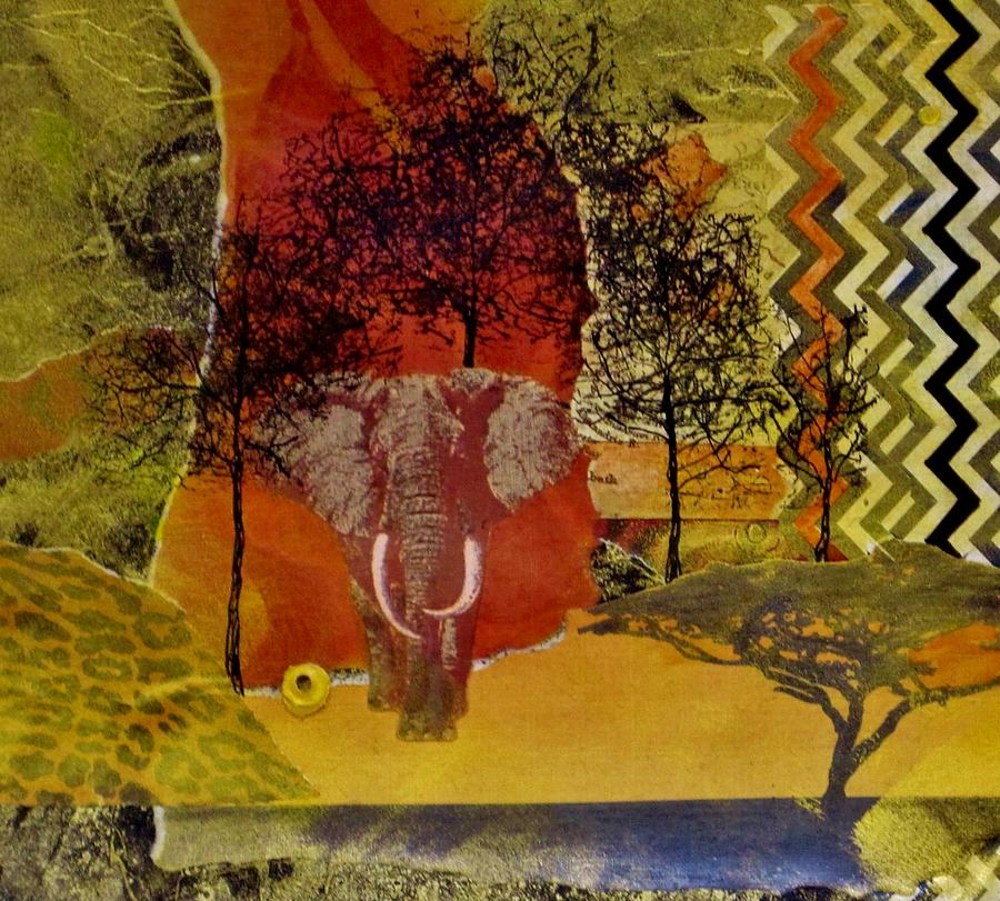 Elephant Painting - Red Elephant by David Raderstorf
