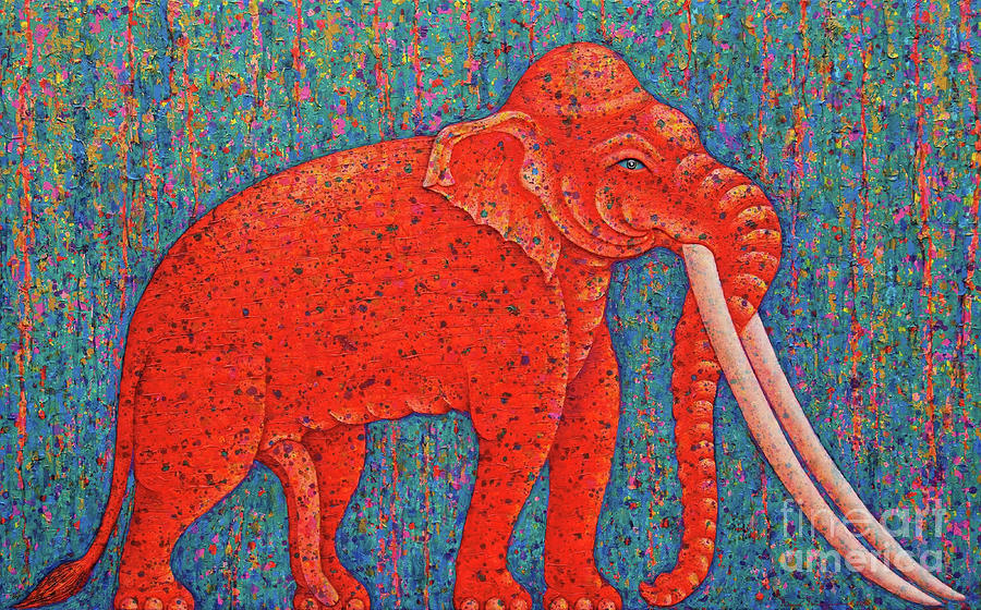 Painting Painting - Red Elephant  by Opas Chotiphantawanon