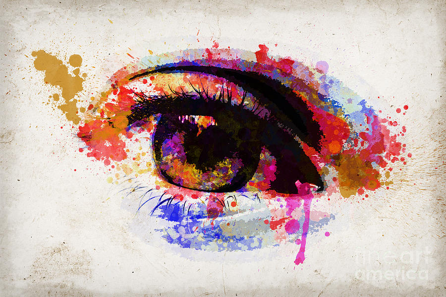 Eye Painting - Red Eye Watercolor by Delphimages Photo Creations
