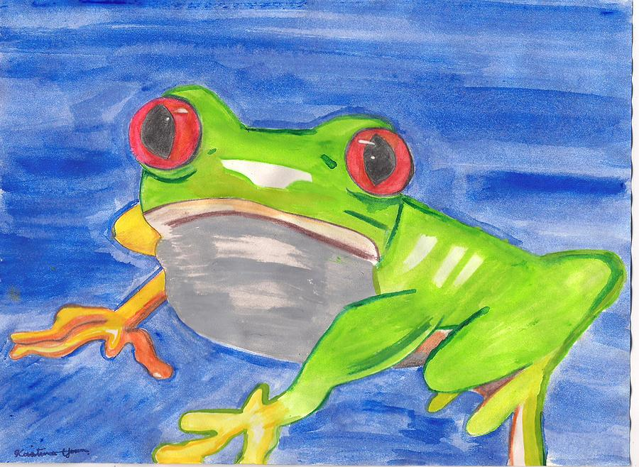 Frog Painting - Red Eyed Beast by Kristina  Youn