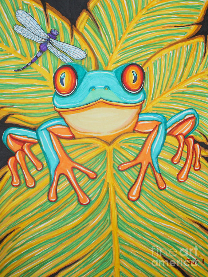 Frog Drawing - Red Eyed Tree Frog And Dragonfly by Nick Gustafson