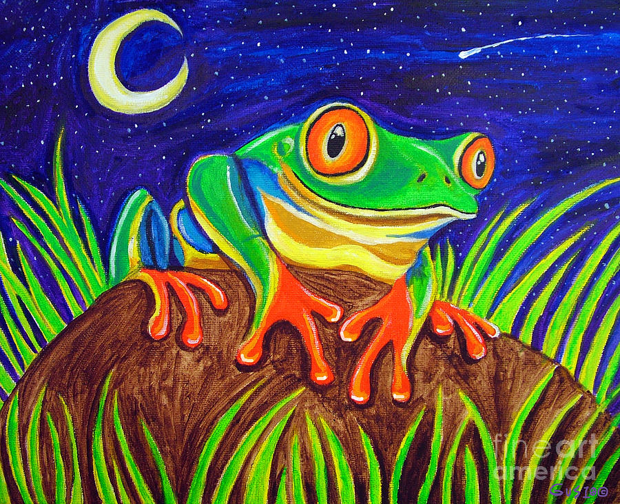 Red-eyed Tree Frog Painting - Red-eyed Tree Frog And Starry Night by Nick Gustafson