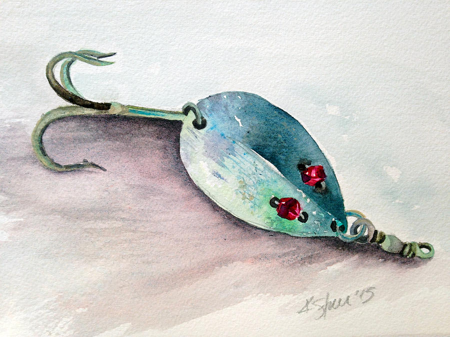 Fishing Painting - Red-eyed Wiggler by Kathy Sturr