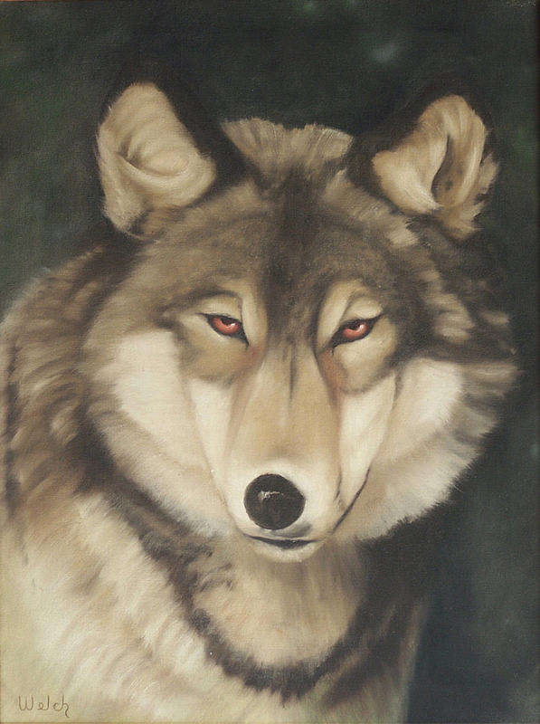 Wolf Painting - Red Eyes by Steven Welch